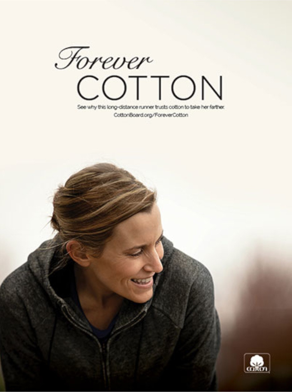 Forever Cotton ad showing woman in cotton jacket