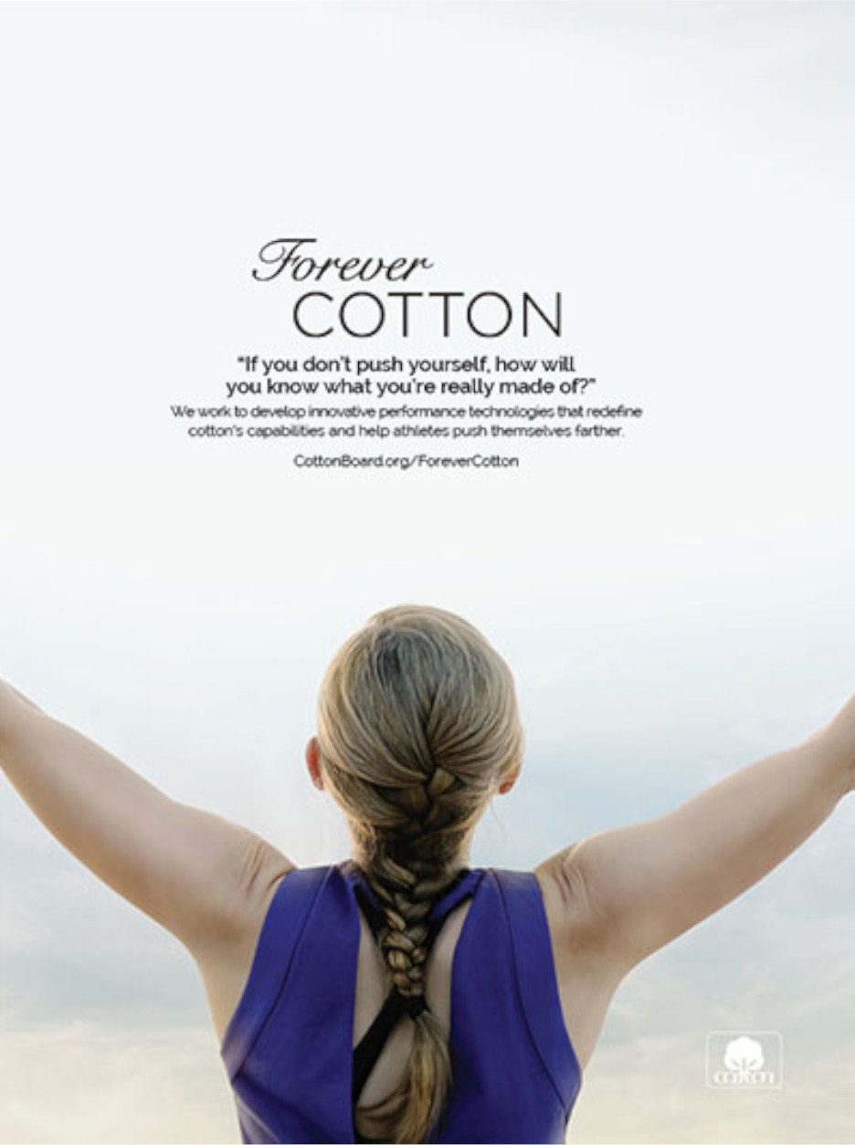 Woman shown in cotton top in a Forever Cotton advertisement