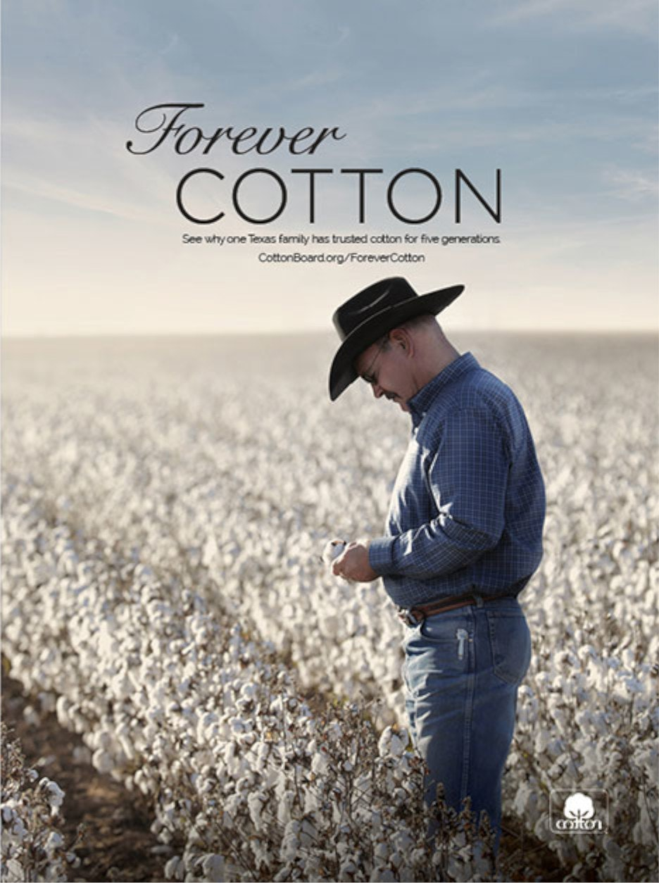 Forever Cotton advertisement showing farmer in a field