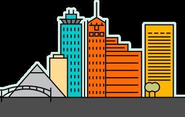 Scale image of the Memphis, TN skyline