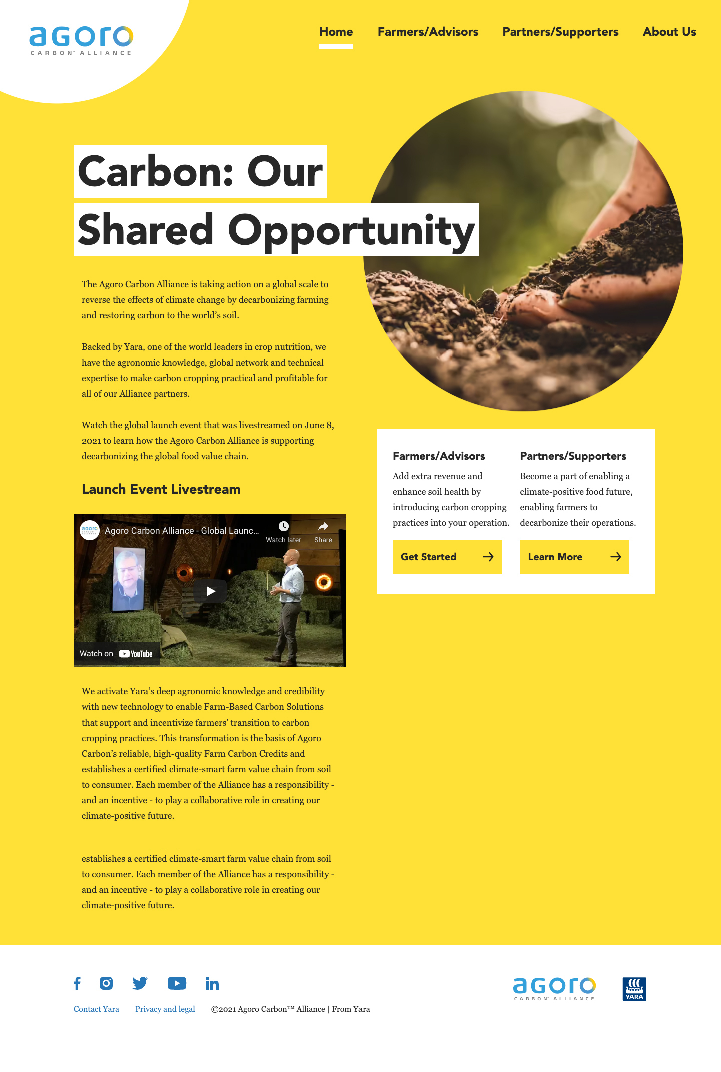 Screenshot of Agoro Homepage